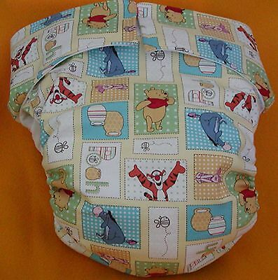 All In One Adult Baby Reusable Cloth Diaper S,M,L,XL Pooh Patchwork