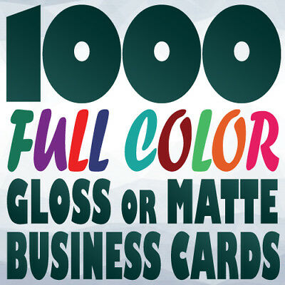 1000 Full Color Custom BUSINESS CARD Printing on a 14pt Gloss or Matte Finish