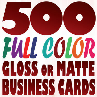 500 Full Color Custom BUSINESS CARD Printing Two Sides on a 16pt Gloss or Matte