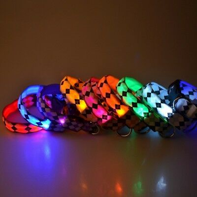 LED Small Dog Collar Glow in the Dark Puppy Night Safety Collar Light-up Flash