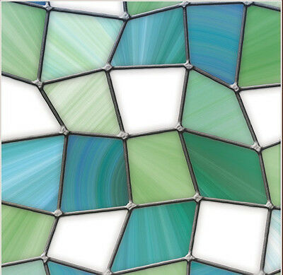 Abstract Blue Green Adhesive-Free Modern Stained Glass Window Film Cling