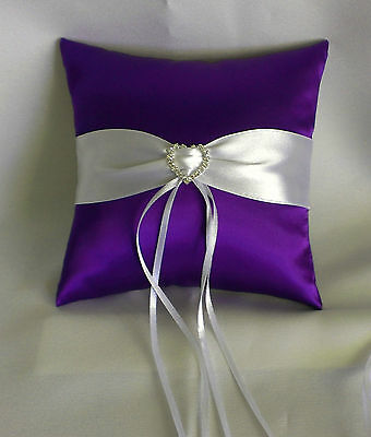 Wedding Ring Pillow 15Cm X 15Cm -  Purple/white