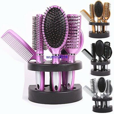 5 Pcs Women Paint Hair Brush Massage Comb Holder Set With Mirror and Stand UK
