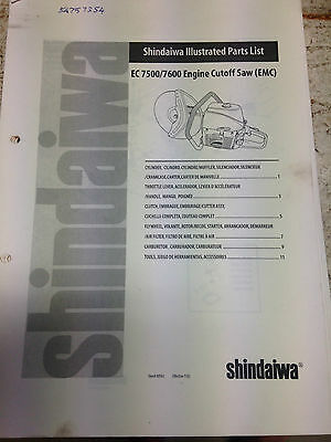 Shindaiwa Parts List EC7500/7600 Engine Cutoff Saw EMC