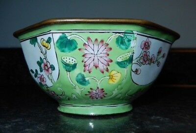 "Vintage Chinese Hand Painted Enamel Ware Bowl ""Water Lilies""~Aqua~Free Shipping!"