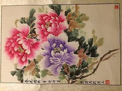 Oriental Painting Of Spring flowers with Artist Seal and Scroll