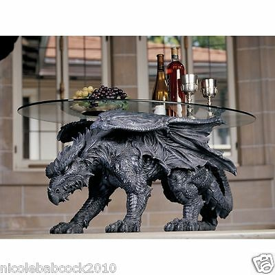 """33"""" Prehistoric Dragon Crawling Side Table Statue 33"""" Long With Glass Top Decor"""