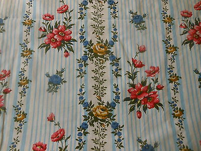 Vintage French Cottage Floral Roses Stripe Cotton Fabric ~ Blue Coral Mustard