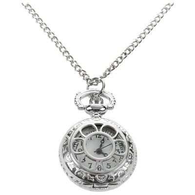 New Durable Ladies Cut out Flower Pattern  Case Necklace Watch Silver Tone sp