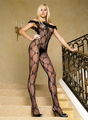 Sex y Bow Lace Off The Shoulder Bodystocking with Lace Ruffle -Bodysuit Lingerie