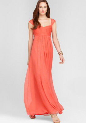 ELIE TAHARI 'Maritza' ~ Coral Silk Chiffon Empire Formal Gown 10 NEW $698