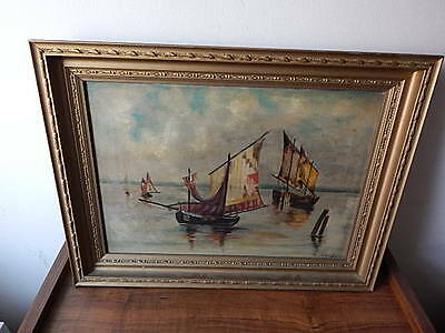 Signed Ge Glen Nautical Harbor Scene Oil On Canvas Painting Local Pick Up Only