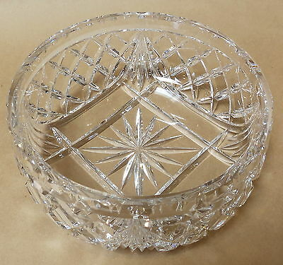Large Sparkling Vintage Crystal Diamond Pattern Serving Bowl