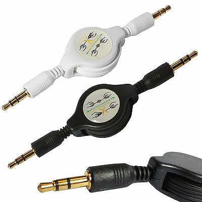 Aux 3.5mm Retractable Audio Stereo Male to Male Cable Auxiliary Lead Cord For Pc