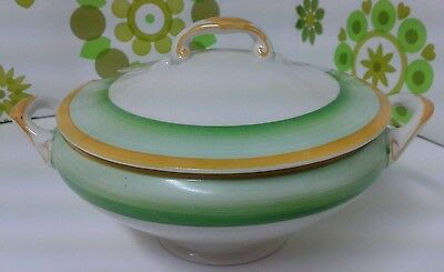 Gray's Vintage 1930's Small Pottery Sauce Tureen Green Yellow & White  (b02)