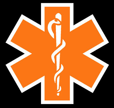 Orange Reflective Vinyl Star Of Life Car or Fire Helmet Decal EMS EMT 3 inch