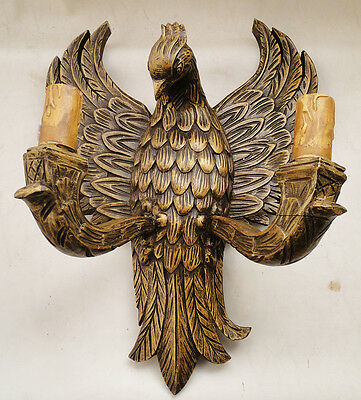 Antique French wood sconce Eagle image Original and antique wood candles