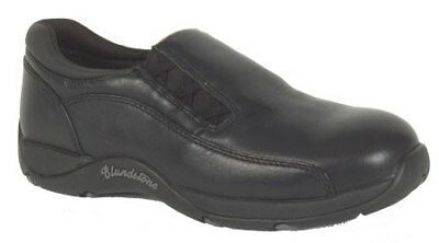 Blundstone 743 Women's Black Leather full grain slip on Steel Cap Shoe