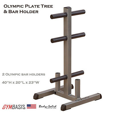 Body Solid GOWT OLYMPIC PLATE TREE & BAR HOLDER Weight Rack