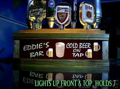 Illuminated 7 Beer Tap Handle Display Personalized With Neon Style Font