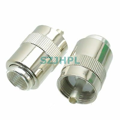 1pce Connector UHF male PL259 solder RG8 RG213 LMR400 7D-FB cable silver plating