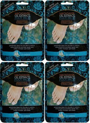 4x Macadamia Oil Foot Packs Treatment Deep Moisturising Extract - Cracked Heels