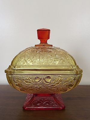 Vintage Jeannette Glass Amberina Footed Covered Candy Dish Acorn & Oak Leaf