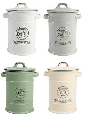 TG Pride Of Place Coffee Storage JarCanister Cool Grey White Old Green Old Cream