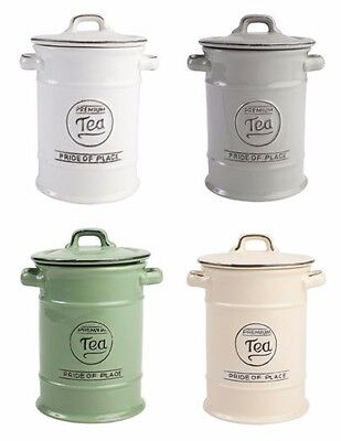 TG Pride Of Place Tea Storage Jar Canister Cool Grey White Old Green Old Cream
