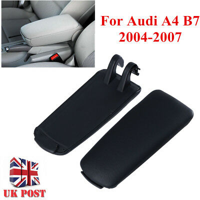 Black PU Leather Center Console Armrest Cover Lid For 04-07 Audi A4 B7