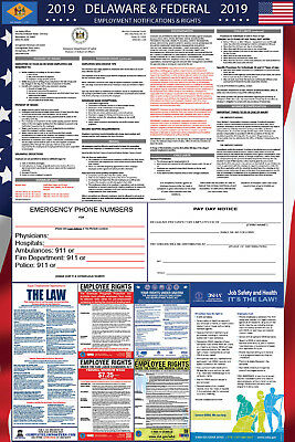 2019 Delaware State and Federal Labor Law Laminated Poster