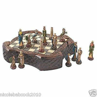 Celtic warrior sculpted chess set w/ wizards, horses, knights, maidens, dragons