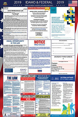 2019 Idaho State and Federal Labor Law Laminated Poster PREORDER