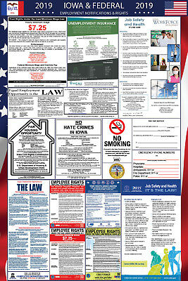 2019 Iowa State and Federal Labor Law Laminated Poster