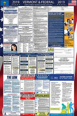 2019 Vermont State and Federal Labor Law Laminated Poster PREORDER