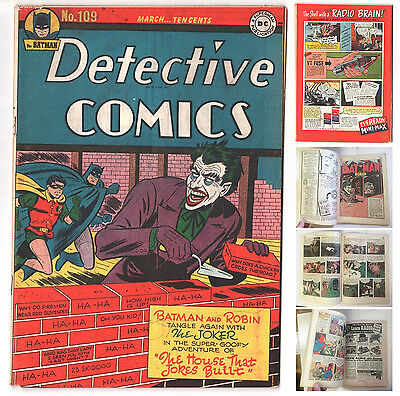 Detective Comics #109 (1937 Series) Batman Joker Cover March 1946 DC Comics