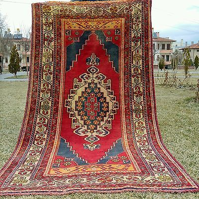 """Authentic 1900-1930s Antique Natural Dyes 4'4""""×8'7""""' Tribal Patterned Rug"""