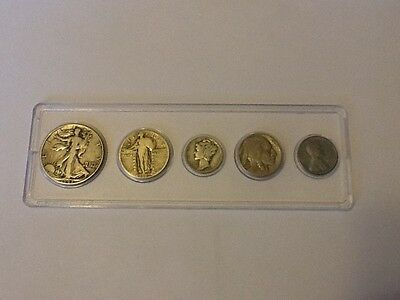 U.S. Coin Set (Half Dollar, Quarter, Dime, Buffalo Nickel, and Steel  Penny)