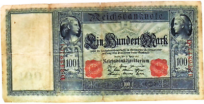 1910 German empire HUGE 100 MARK banknote  Red Seal