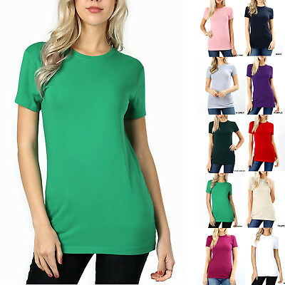 SHORT SLEEVE CREW NECK Basic Women T-Shirt Cotton Solid Top Fitted Plain Stretch
