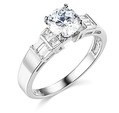 2.25 Ct Round Baguette Princess Cut Engagement Wedding Ring Solid 14K White Gold