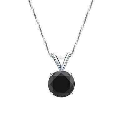"""2.50 Ct Round Cut Black Solid 14k White Gold Solitaire Pendant 18"""" Necklace"""