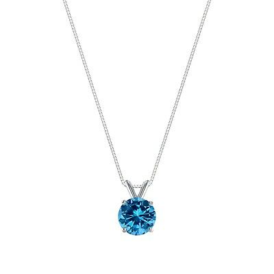 """1 Ct Round Cut Blue Solid 14k White Gold Solitaire Pendant 18"""" Necklace"""