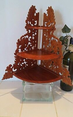 Vintage Oriental 3 Tier Corner Shelf Asian Collectible Solid Wood Display