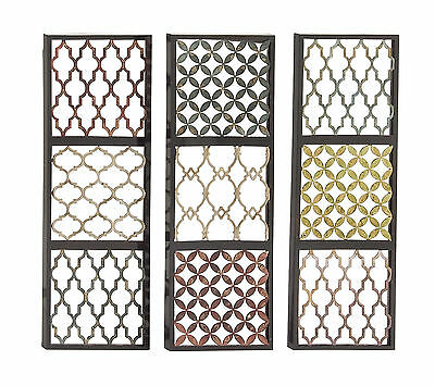 Set of 3 Wall Art Panels Boho Patterned Metal Moroccan Style Home Decor