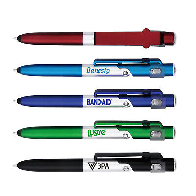 100 Promotional Pen, Stylus, Led Flashlight. Custom Printed With Your Info/logo