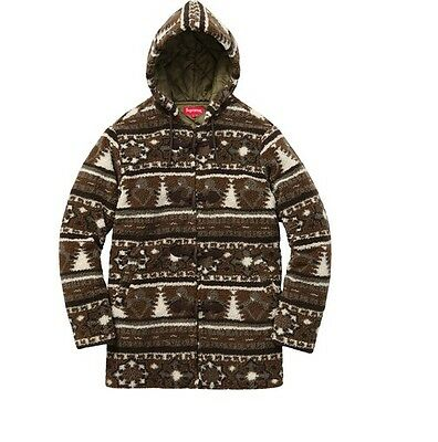 Supreme S/S16 Sherpa Fleece Toggle Jacket Brown Size Small Medium