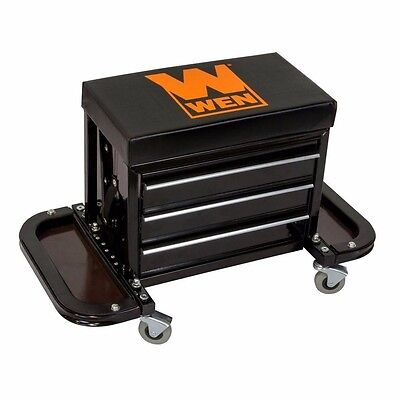 WEN Garage Glider Rolling Tool Chest Seat Vinyl Protected Ball Bearing Swivel