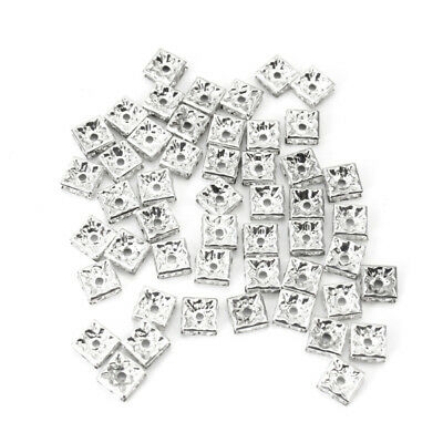 50 Silver Tone Rhinestone Crystal Square Spacer Beads Jewelry Making Beads
