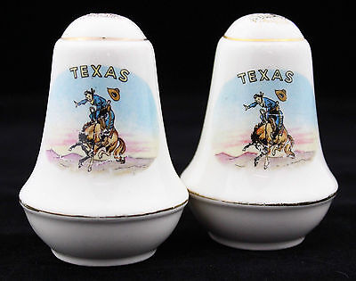 Vintage 50s 60s Texas Cowboy Souvenir Salt Pepper Shakers Set Retro Kitchenalia